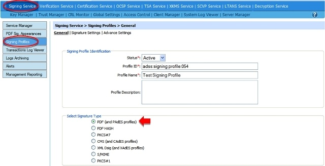 Configuring PAdES Part 2 Signatures in ADSS Server (Step 1)