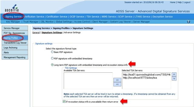 Configuring PAdES Part 2 Signatures in ADSS Server (Step 2)